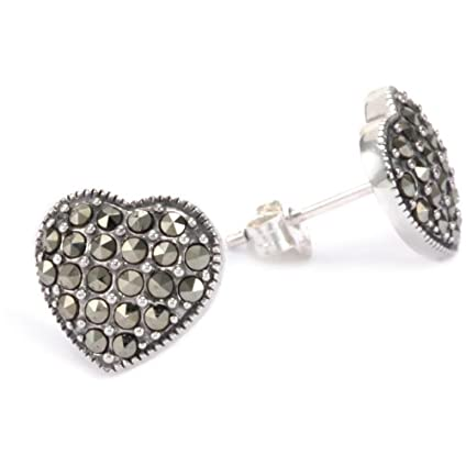 Judith Jack Lamour Heart Stud Earrings
