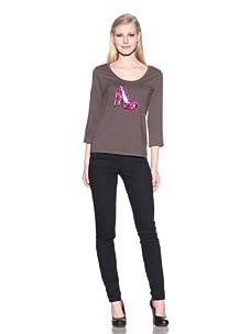 Michael Simon Women's 3/4 Sleeve Scoop Neck Shoe Top (Dawn)