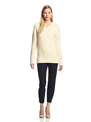 DEREK LAM Women's V-Neck Sweater (Ivory)
