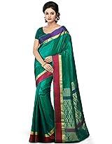Utsav Fashion Women's Teal Green Pure Dharmavaram Handloom Silk Saree with Blouse
