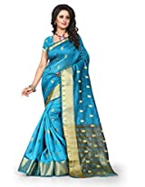 Shree Sanskruti Self Design Tassar Silk Turquoise Color Saree For Women With Blouse Piece