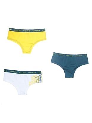 UNNO Culotte Pack x 3 (Amarillo/Verde/Blanco)