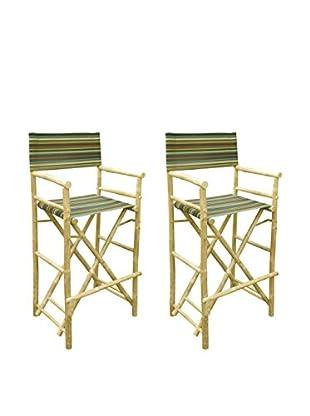 ZEW, Inc. Set of 2 Bamboo High Director Chairs, Indigo Stripes