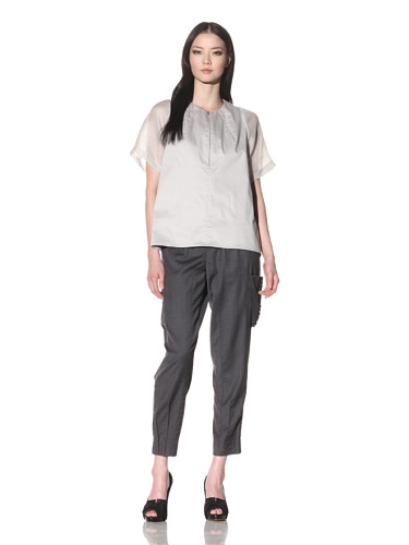 Bibhu Mohapatra Women's Short Sleeve Top with Zipper (Stainless)