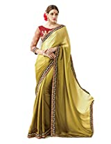 Inddus Women Green Ombre Shaded Satin Partywear Saree