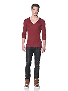Just Cavalli Men's Ribbed V-Neck Sweater (Red)