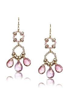Diane Yang Pink Chandelier Earrings
