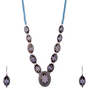The Crazy Neck Blue Mixed Wooden Beads Neckpiece jewellery Set