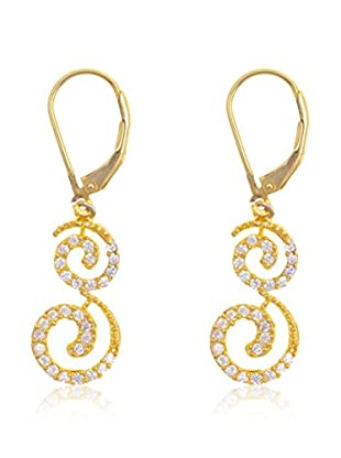 Silver Luxe Pendientes Espiral Circonita en Oro
