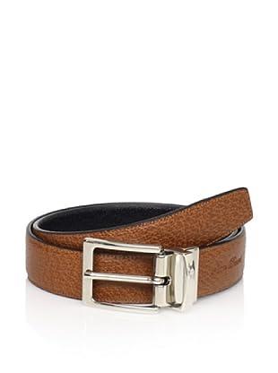 Leone Braconi Men's Reversible Belt (Black/Cognac)