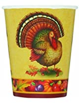 Festive Turkey 9 Oz. Cups 8 Count (Pack Of 3)