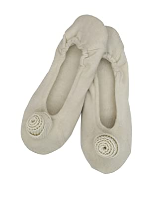 a&R Cashmere Slippers with Flower (Crème Fraiche)