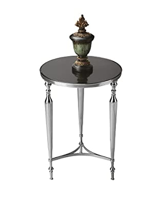Butler Specialty Company Polished Aluminum and Black Mirror End Table