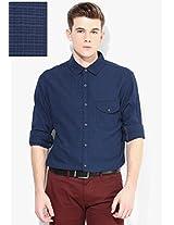 Blue Regular Fit Casual Shirt United