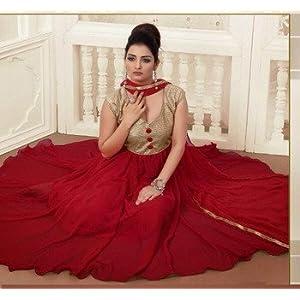 Semi stitched salwar suits - Designer salwar kameez -Maroon Georgette Anarkali Suit