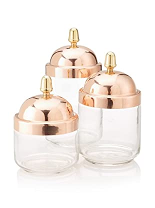 Ruffoni Set of 3 Barattoli Collection Storage Canisters with Copper Lids