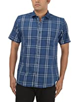 King Richard Men's Casual Shirt (AYK24_42, Navy Blue, 42)