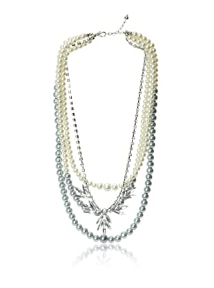 Chloe & Theodora Multi-Strand Grey Glass Pearl and Cubic Zirconia Necklace
