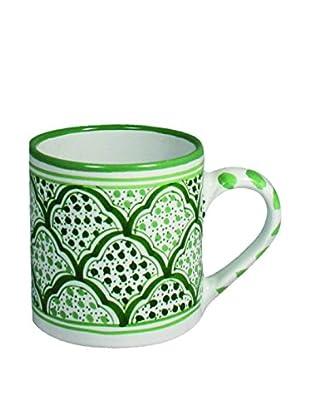 Canvas Home Tunis Coffee Mug, White/Green,