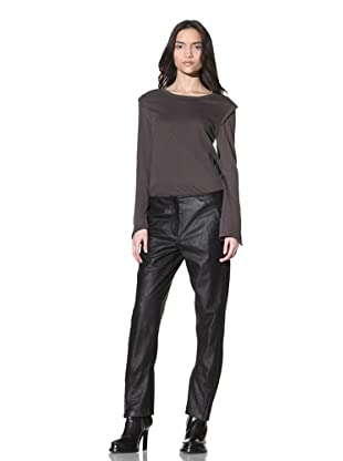 Ann Demeulemeester Women's Cropped Leather Trousers (Black)