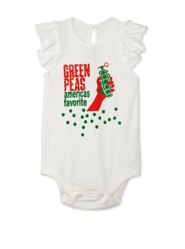Lil Jokester Baby Green Peas Short Sleeve Bodysuit (White with Frills)