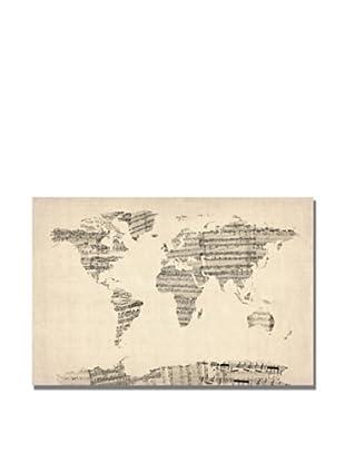 Michael Tompsett Old Sheet Music World Map Print on Canvas (Multi)