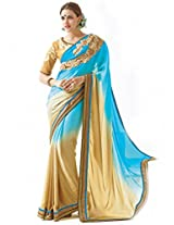 Inddus Women turquoise & Beige Ombre Satin Partywear Saree