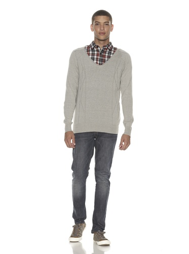 ZAK Men's Deep V-Neck Sweater (Grey)