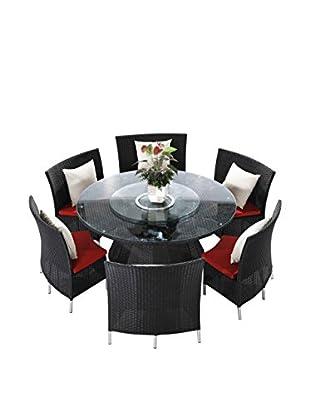 International Designs USA Maxim Outdoor 7-Piece Dining Set, Black