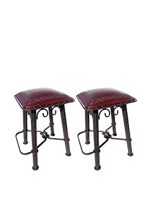New World Trading Classic Western Iron Barstool With Back, Antique Brown
