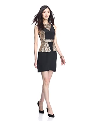 Luna by Josandra Women's Sophia Silk And Sequin Dress (Black/Gold)