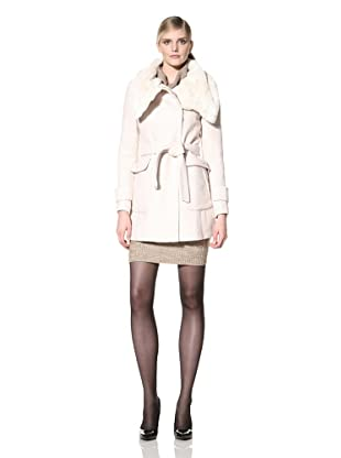 Ivanka Trump Women's Belted Jacket with Faux Fur Collar (Snow)