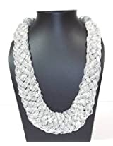 Silver And White Seed Beads Necklace