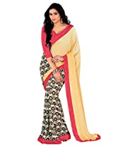 Riti Riwaz Yellow Saree with Unstitched Blouse RBL114