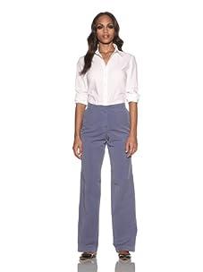 Loro Piana Women's Akan Flat-Front Pants (Orion Blue)