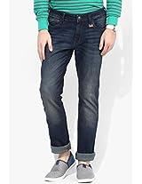 Blue Mid Rise Slim Fit Jeans (skanders) Wrangler