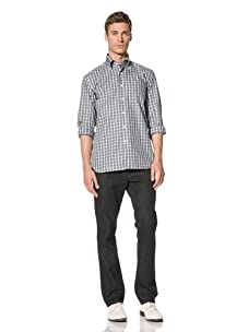 Orian Men's Checkerboard Shirt (Turquoise Check)