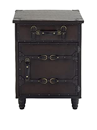 UMA Wood & Faux Leather Side Cabinet, Black