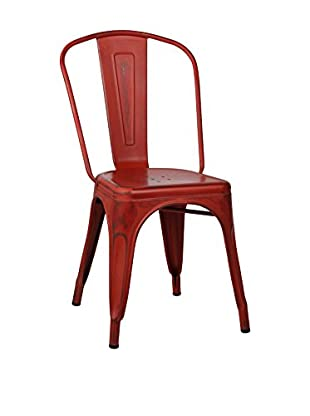 Lo+deModa Silla Terek Vintage Metal Color Edition Rojo