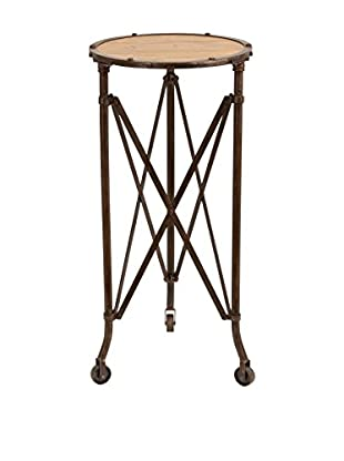 Metal & Wood Accent Table, Brown