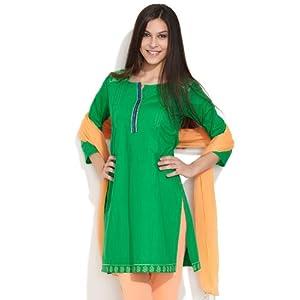 Smart Kurta With Shirt Collar -Green-XL