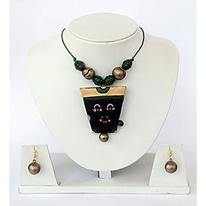 Anikalan Designs Golden Face Pendant Terracotta Necklace Set