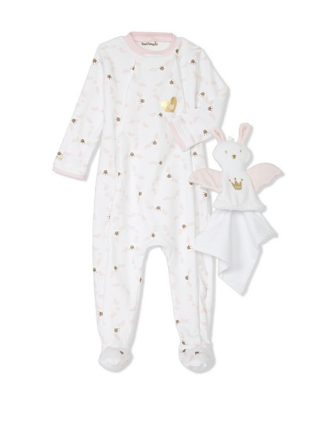 Berlingot Baby 2-Piece Footed Sleeper & Toy Bunny Set (Soft Pink)