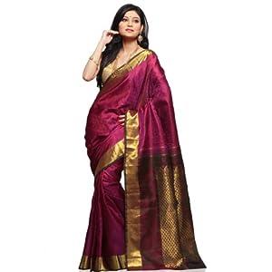 Dark Magenta Pure Kanchipuram Handloom Silk Saree with Blouse