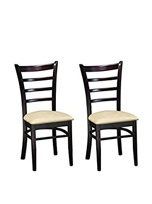 Baxton Studio Set of 2 Lily Dining Chairs, Dark Brown