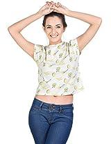 The Glu Affair Women's Cotton OffWhite Round Neck Top, Large