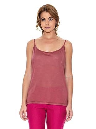 American Vintage Camiseta Rayas (Granate / Rosa)