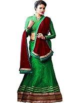 MELLUHA Green Net Embroidered Butti Work Lehenga