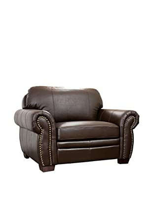 Abbyson Living Vista Sea Oversize Italian Leather Chair, Dark Truffle