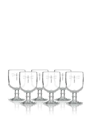La Rochère Set of 6 Dragonfly Décor 7 oz. Footed Wine Glasses